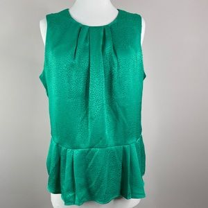 Liz Claiborne Peplum Sleeveless Blouse Green Large